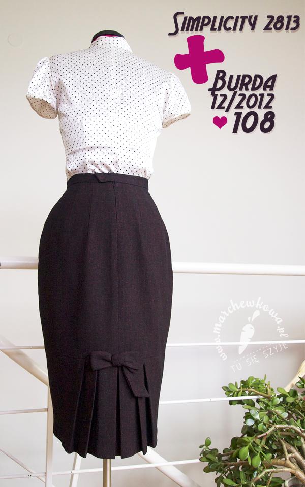 marchewkowa, blog, szycie, moda, retro, vinage, Burda 12/2012, #108, spódnica ołówkowa, Simplicity 2813, 50s, plisowanie, zakładki, tweed, wełna, wool, pencil skirt, sewing, fashion