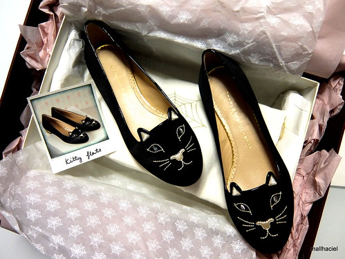 Charlotte Olympia Satin Kitty Flats