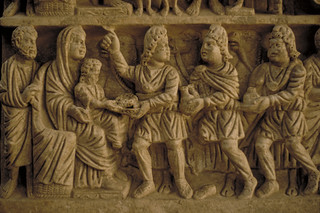 Sarcophagus relief:  Holy Family with the Adoration of the Magi
