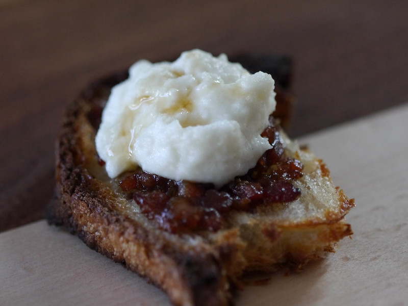 Ricotta-bacon jam bruschetta