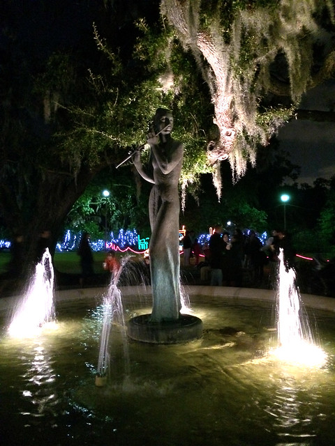 Pretty lady in the fountain