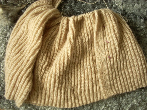 Camel cardigan in progress by Asplund