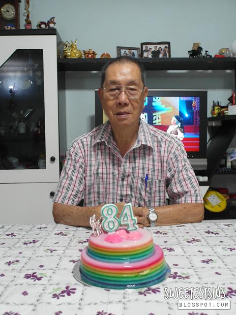 grandpa with his rainbow agar agar cake