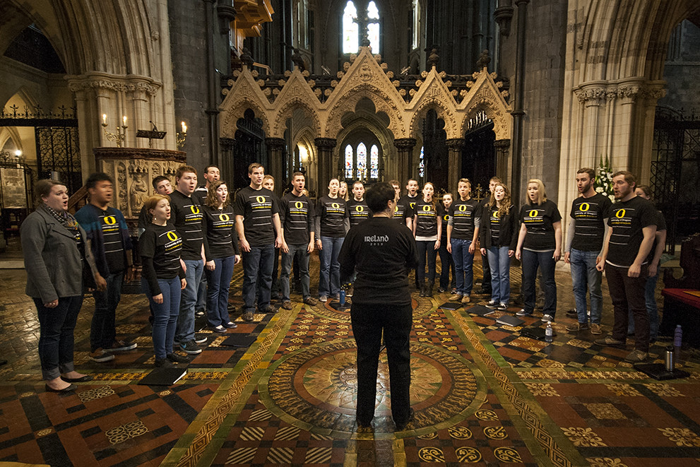University of Oregon Chamber Choir performs a lunchtime concert in Dublin's Christ Church Cathedral