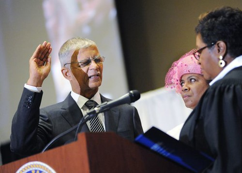 Atty. Chokwe Lumumba being sworn in as the mayor of the majority African American city of Jackson, Mississippi. He only served a few months before dying on Feb. 25, 2014. by Pan-African News Wire File Photos