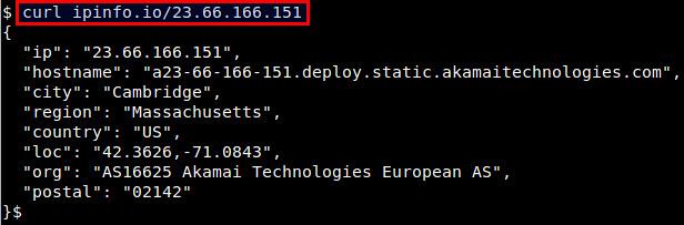 Узнать к какой стране относится IP