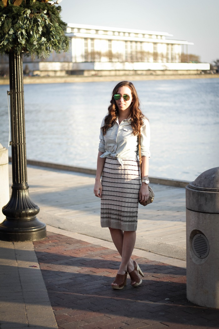 va darling. dc blogger. virginia personal style blogger. georgetown waterfront. midi striped skirt. chambray top. wooden leather clogs. 4