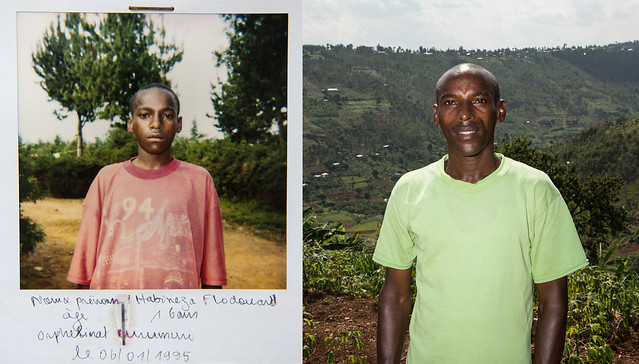 "Flodouard was 15 when he saw his parents killed. <br /> ""When the massacres were happening, I was there but I hid myself underneath the corpses,"" he said. <br /> He fled with his younger brother and sisters. Eventually they were picked up by rebel soldiers who took them to an orphanage in Byumba in northern Rwanda. <br /> ""I was with my three younger siblings,"" he said. ""The youngest one was only two years old. But because I didn't know how to take care of a little child, she died when we arrived at Byumba.""<br /> The children were reunited with an uncle who raised them until Floduard was old enough to support his siblings.<br /> ""I could have gone to Kigali to find a job... But I saw that I had a bigger duty to raise my younger brother and sister. I understood that if I didn't honour this duty, I wouldn't be honouring the memory of my parents.""<br /> Floduard is now a father of three and a farmer."