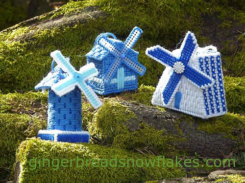 Delft Blue Windmill Ornaments featured on Craftypod's Plastic Canvas Blog Hop