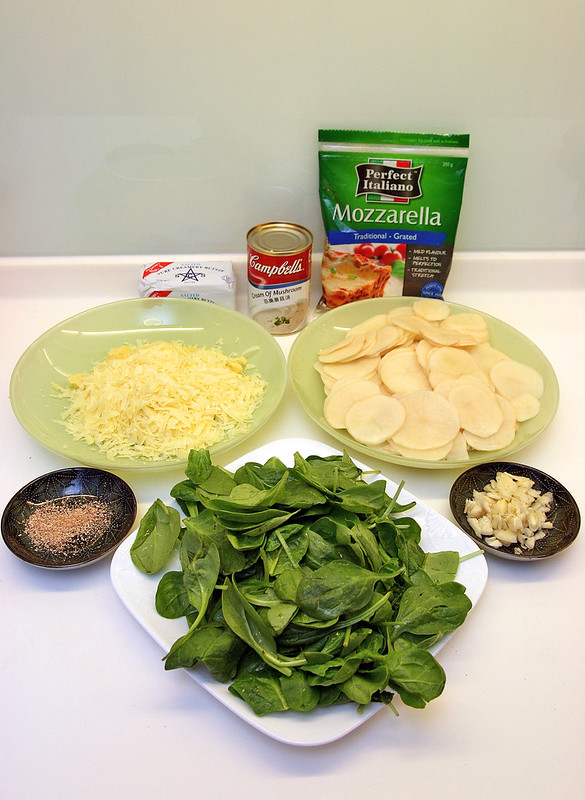 Ingredients for Garlicky Spinach Potato Gratin using Perfect Italiano Cheese