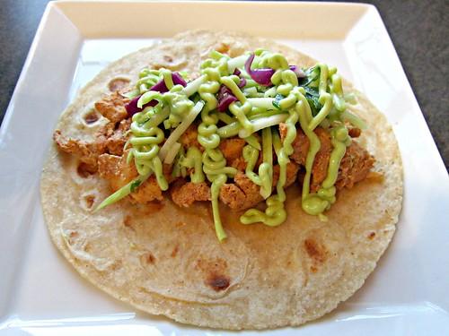 Adobo Chicken Tacos with Cilantro Slaw and Avocado Cream