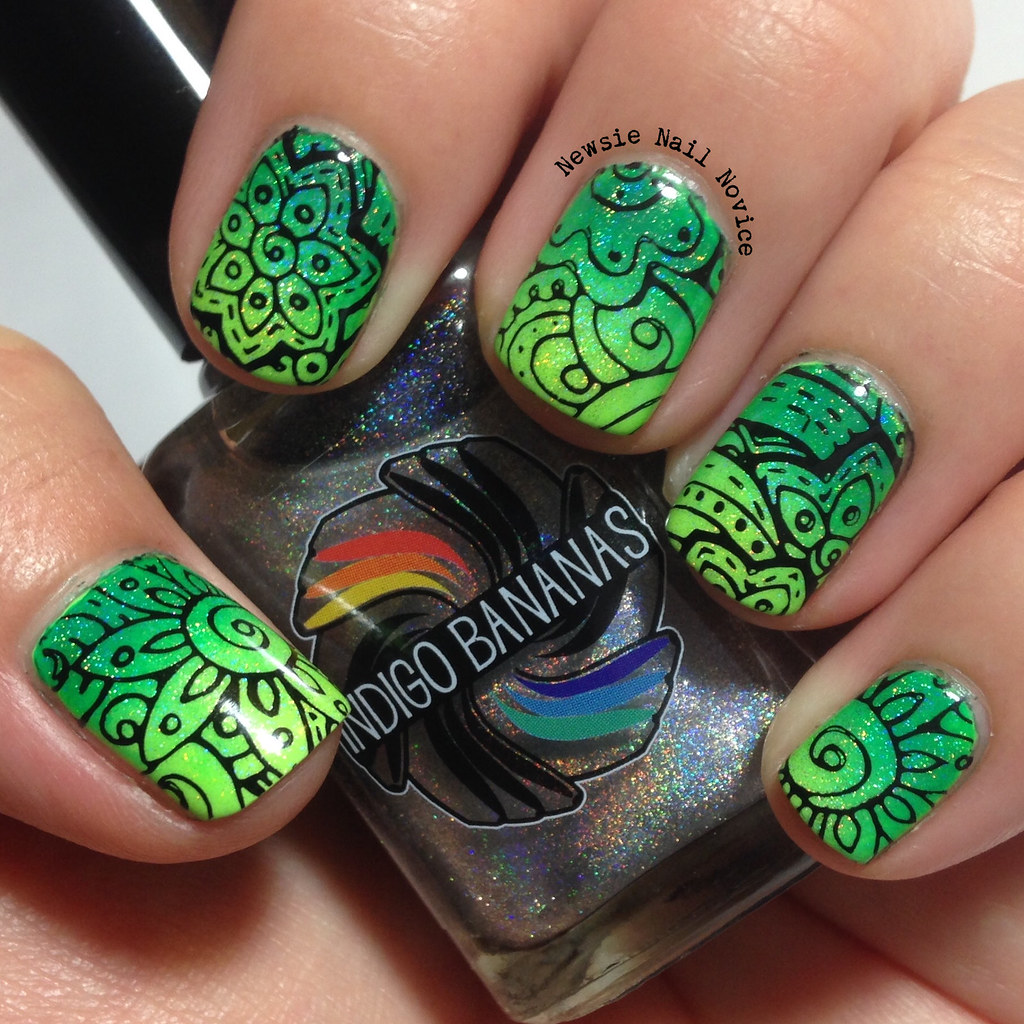 Bundle Monster Shangri La Stamping Over Green Gradient Newsie Nail