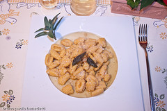 pumking gnocchi with walnut sauce