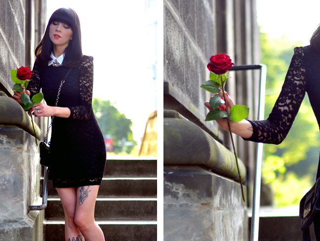 Lace dress and red rose blog 10