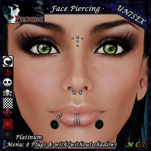 *P* Unisex Face Piercings Z3 ~Platinum~ 8 Plugs