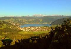 View over Unterägeri and the Ägerisee lake to the Glärnisch (2914m)