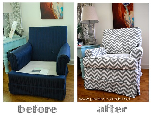 Gray Chevron Chair Slipcover