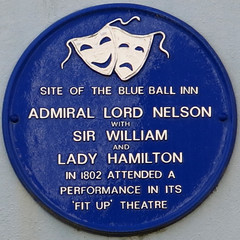 Photo of Emma Hamilton, William Hamilton, Horatio Nelson, and Blue Ball Inn, Tenby blue plaque
