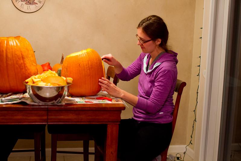 Sara Carving Pumpkins