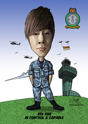 Benjamin Ker caricature for Singapore Air Force