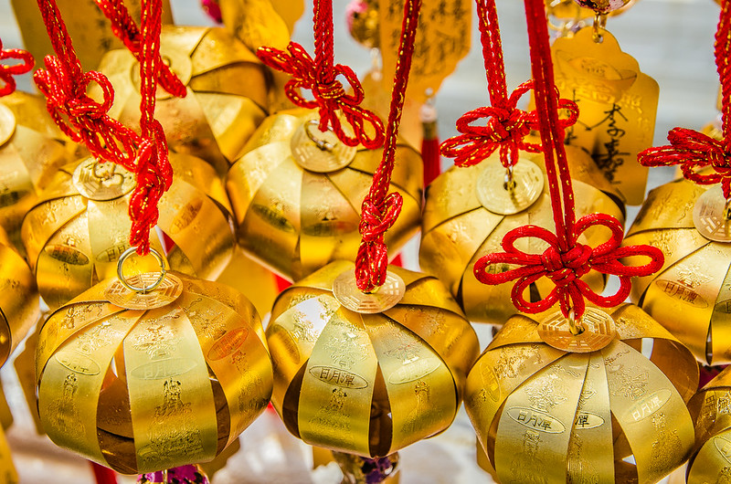 Golden little lantern at Wen Wu Temple, Taiwan