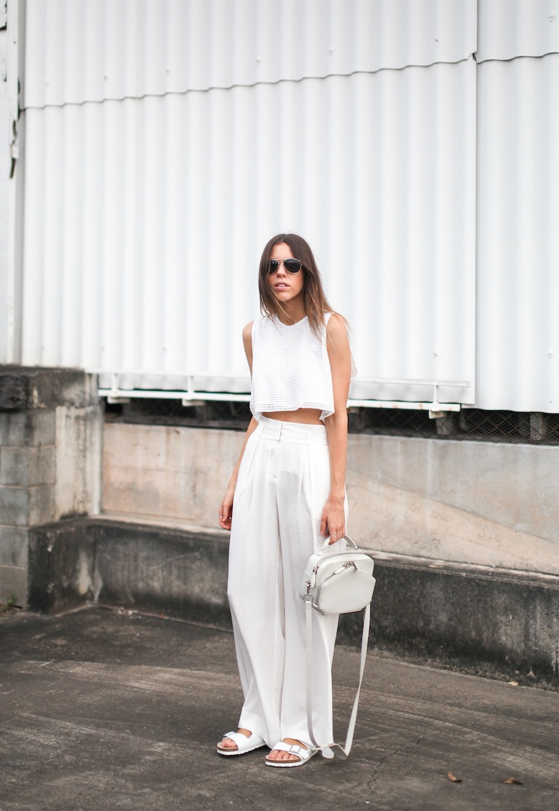 modern legacy fashion style blogger australia sass bide wide leg silk pants faddoul label top zara boyfriend blazer white birkenstocks street style alexander wang rafael bag (1 of 11)