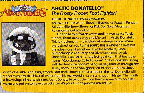 'ADVENTURERS' TEENAGE MUTANT NINJA TURTLES :: ARTIC DONATELLO // ..Profile Card  (( 1995 ))