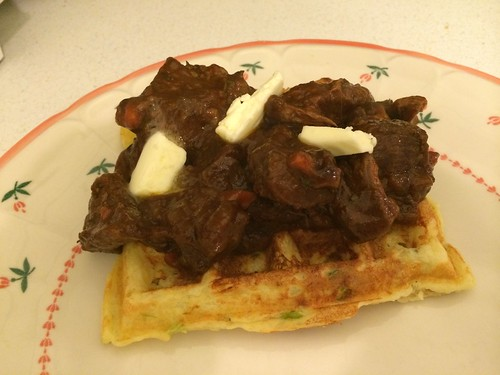 Potato Leek Waffles with Braised Beef