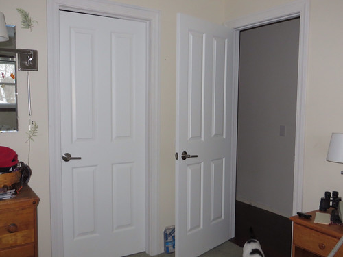 New doors and trim w/ drab beige walls