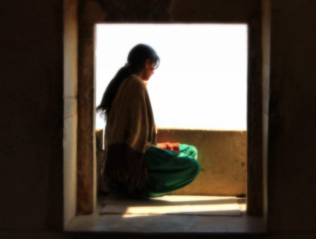 Indian girl staring