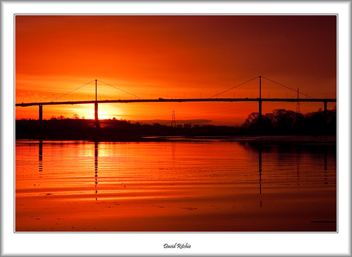 bridge winter sunrise landscape dawn scotland riverclyde bowling erskine