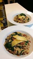 Home made bacon, mushroom and spinach risotto topp…