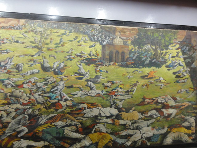 A painting near entrance depicts the the Jallianwala Bagh massacre in 1919.