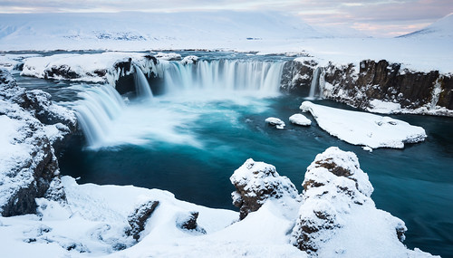 longexposure travel snow ice nature water rock stone sunrise landscape dawn waterfall iceland twilight europe nordic snowfall northeast ísland godafoss halflight mývatn goðafoss waterfallofthegods republicoficeland lakemývatn norðurlandeystra lýðveldiðísland northeasternregion