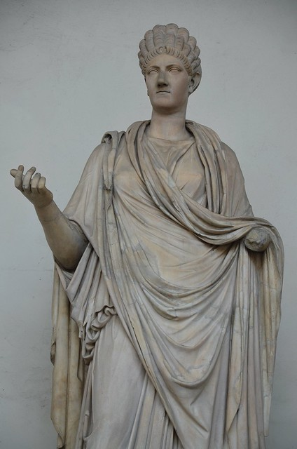 Female statue with a portrait of Ulpia Marciana, 110-120 AD, with modern restorations, Loggia dei Lanzi, Florence