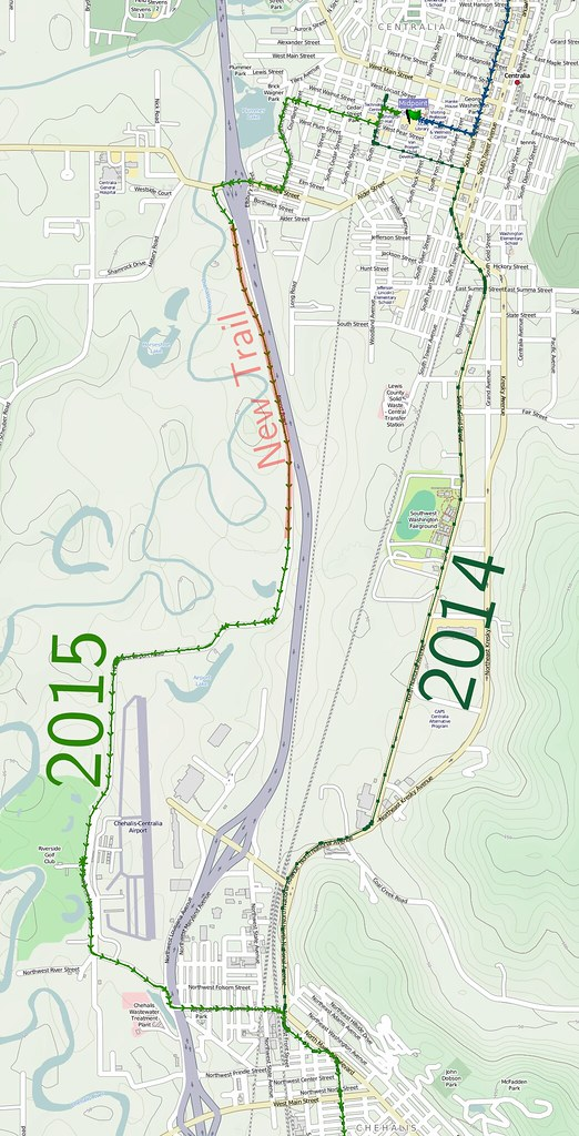 Deviation 2: Centralia: A new bicycle trail opened since 2014, so the route was tweaked to use it instead of the more direct highway overpass.
