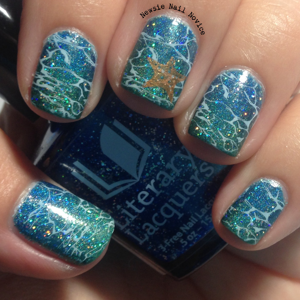 To start this look off I painted one coat of Literary Lacquers Thermofish*  on my nails. Thermofish is a green leaning linear holo with scattered  matching ... - Literary Lacquers Ocean Nail Art Newsie Nail Novice