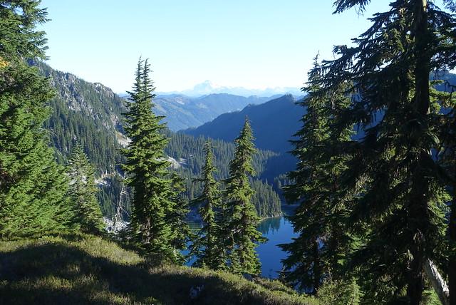 Glacier Lake (near), Glacier Peak (far)