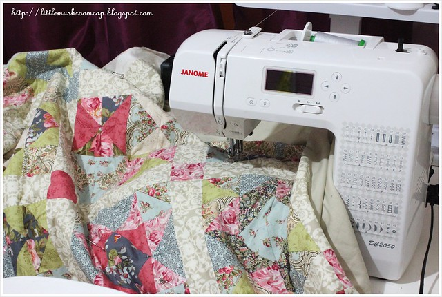 Free Motion Quilting on My domestic machine - HST quilt