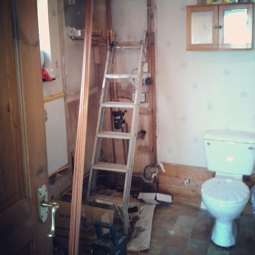 Im not sure if this counts as progress but the leaky bath has been removed and the rancid airing cupboard!