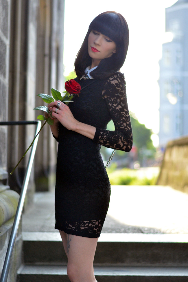 Lace dress and red rose blog 5