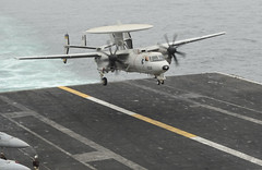 light aircraft(0.0), consolidated pby catalina(0.0), aircraft engine(0.0), aviation(1.0), northrop grumman e-2 hawkeye(1.0), military aircraft(1.0), airplane(1.0), propeller driven aircraft(1.0), wing(1.0), vehicle(1.0), flight(1.0), air force(1.0),
