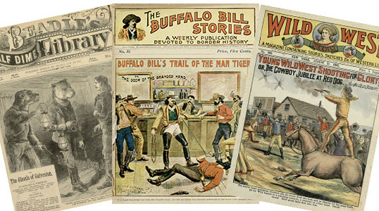 Sampling of dime novels at The Texas Collection