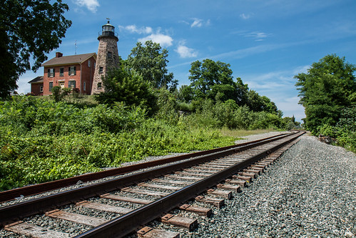 railroad trees summer sky lighthouse ny newyork history dan clouds train landscape outside outdoors day scenic tracks rr greece nys rochesterny wny csx dangler dandangler pwpartlycloudy
