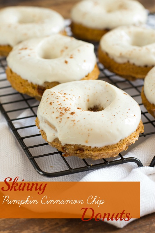 Skinny Pumpkin Cinnamon Chip Donuts with Maple Cream Cheese Glaze  www.themessybakerblog.com -8481