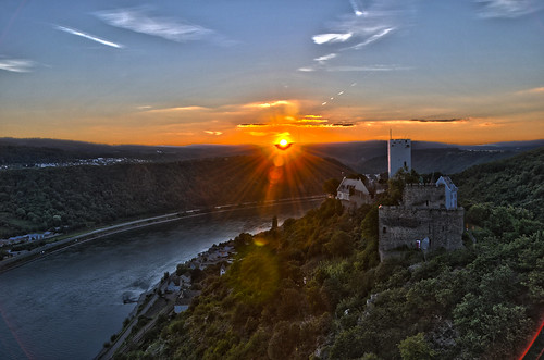 sunset sky cloud castle river rhine hdr riverbend rhinevalley