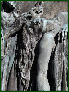 Detail: Healing Hands and Face and Arm of Girl, Ernest W. Haass Memorial, Woodlawn Cemetery--Detroit MI