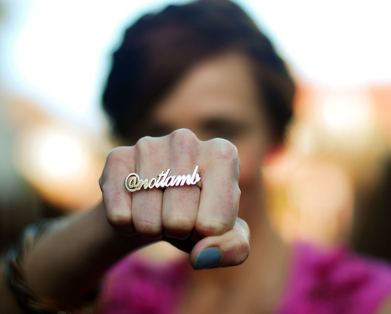 Twitter handle gold name ring