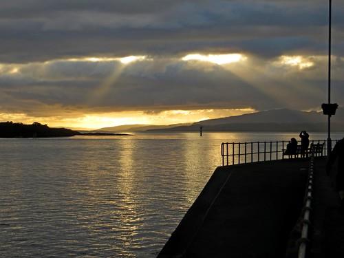 sunset sea people silhouette canon bench bay scotland harbour powershot oban railings lorn hs firth kerrera sx260