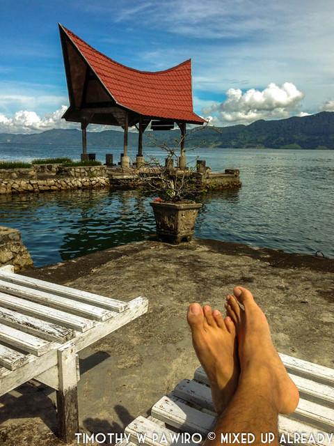 Indonesia - North Sumatra - Samosir - Lake Toba - Lekjon - Sitting beside the lake